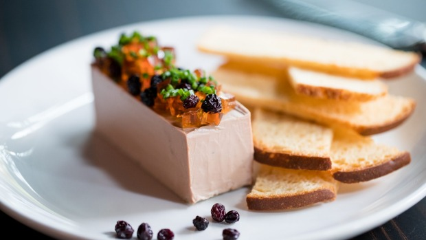 Chicken liver parfait with sweet sour jelly at Bistro Rex.