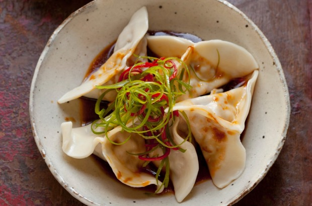 Pork and shiitake dumplings in chilli oil. <a ...