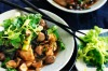 Chilli chicken with chestnuts, black funghi and celery. <a ...