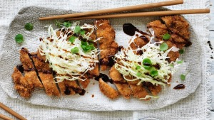 Pork tonkatsu with slaw.