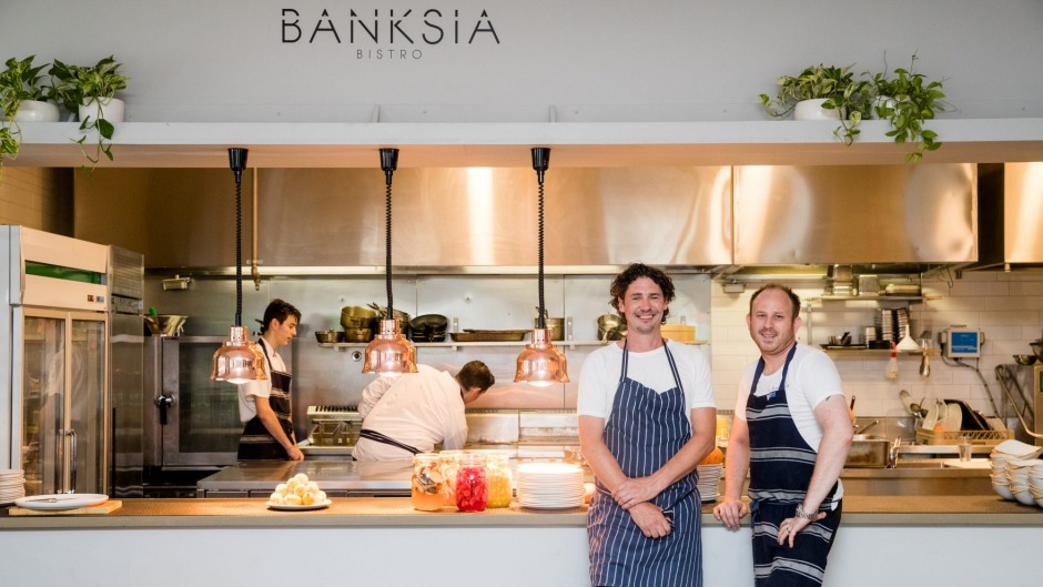 Chef Colin Fassnidge and head chef Leigh McDivitt at Banksia Bistro.