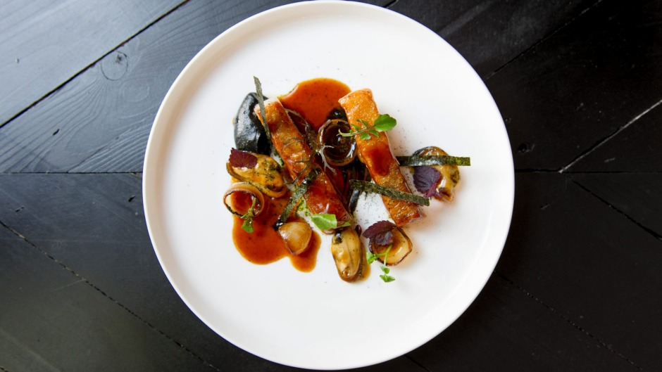 Go-to dish: Confit pork jowl, smoked mussels, burnt aubergine and nori.