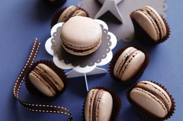 Chocolate macarons with chocolate granche <a ...