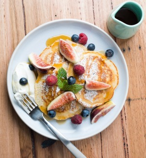 Tip top: Pancakes with fresh figs, vanilla labna and smoked maple syrup.