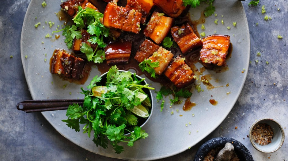 Kylie Kwong's caramelised pork belly with fresh finger limes and Sichuan pepper.