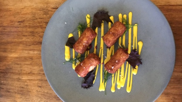 Smoked haddock and gruyere croquettes with saffron sauce at Cupitt's Kitchen.