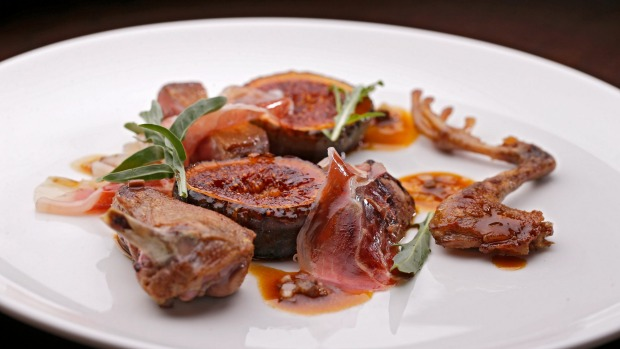 Rosy pigeon, grilled figs, jamon.