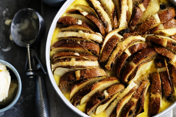 Neil Perry's hot cross bun and butter pudding with apples and spice <a ...