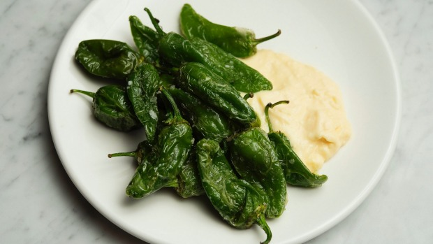 Pimentos de padron with manchego custard.