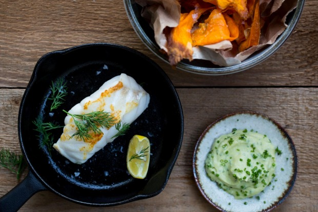 Adam Liaw's pan-roasted ling with kumara chips and avocado yoghurt. <a ...