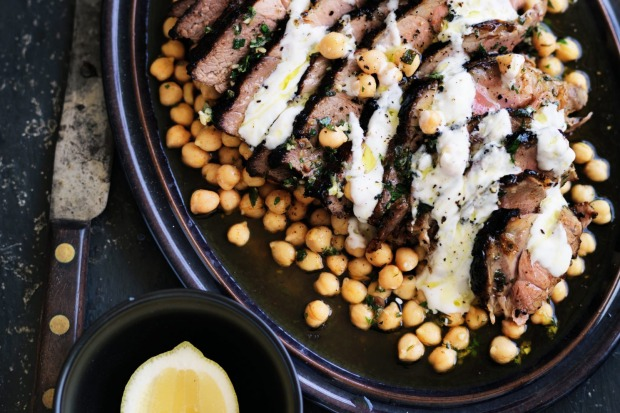 Neil Perry's marinated lamb leg with chickpea salad and garlic yoghurt dressing. <a ...