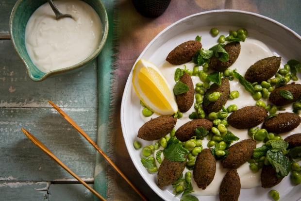 Karen Martini's falafel with fresh broad beans and spice on tahini sauce. <a ...