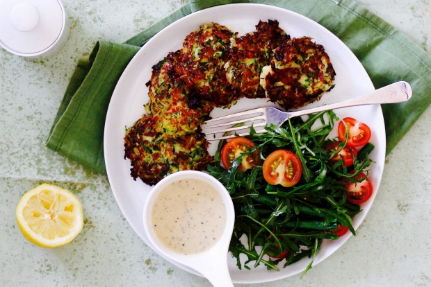 Zucchini and haloumi fritters with Greek yoghurt dressing. <a ...