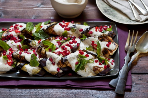 Grilled eggplant salad with tahini yoghurt dressing, pomegranate & mint. <a ...