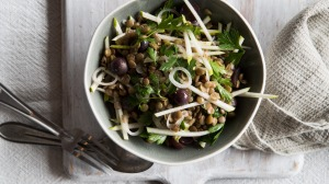 Pair this delicious autumnal apple, lentil, grape and watercress salad with sausages for a meal.