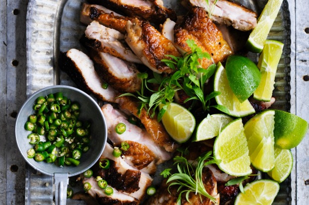 Grilled chicken with green chillies and lime dipping sauce <a ...