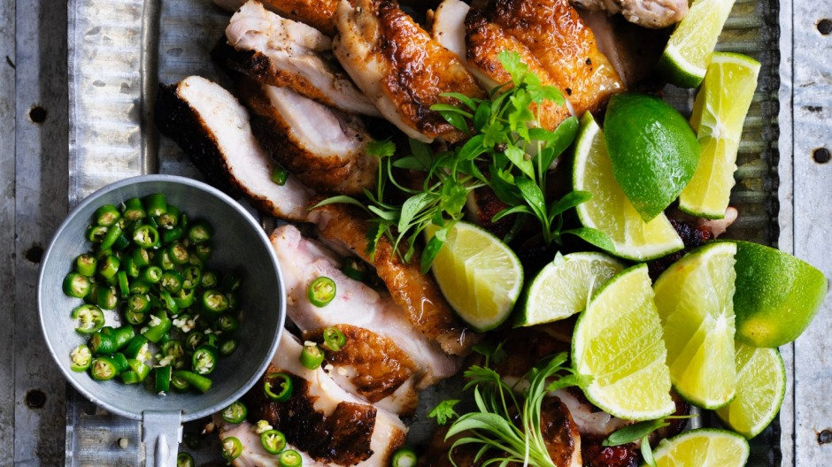 Grilled chicken with salt, pepper and lime dipping sauce.