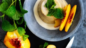 Adam Liaw's simple-set peach pudding.