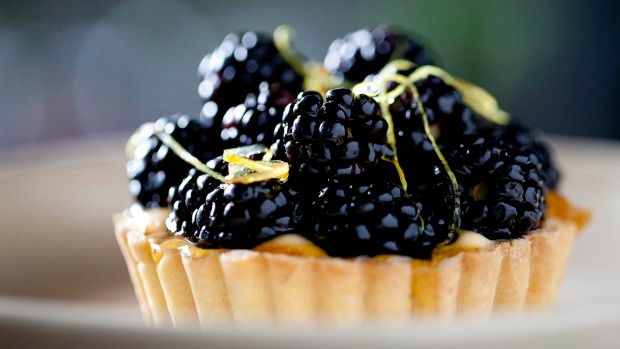 Lemon and blackberry tart.