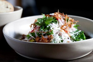 Salad of fresh-picked spanner crab, coconut and coriander.
