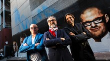 Top chefs (from left) Heston Blumenthal, Massimo Bottura and Ben Shewry in Melbourne.