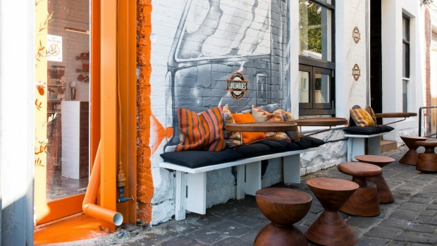 Lukumades has seating for two inside and more in the laneway.