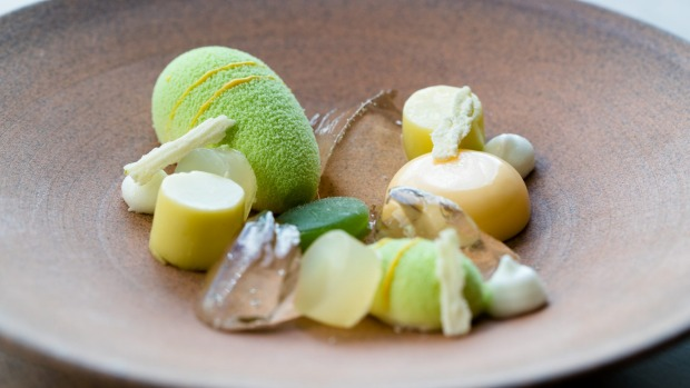 A Gin and Tonic dessert with 14 elements flavoured with gin, lime, and white chocolate.