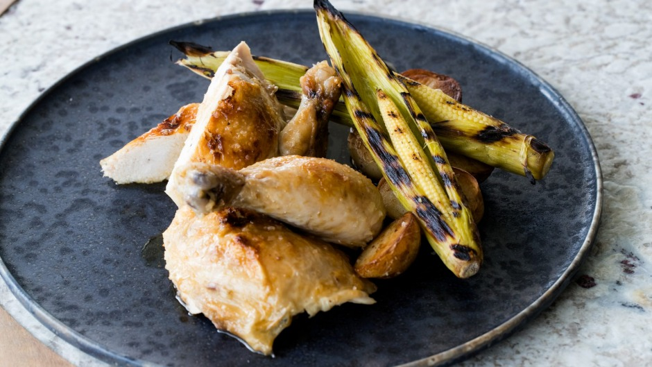 Go-to dish: Roast chicken with chicken fat potatoes and corn.