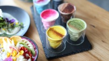 A rainbow of alternative lattes, including blue algae, turmeric, matcha and mushroom at Matcha Mylkbar in Melbourne.