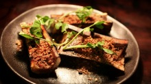 Bones loom large: Roasted bone marrow with meat dust.