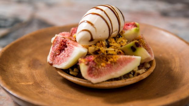 Everything is seasonal. Right now, dessert is fig tart, walnuts and balsamic ice-cream.