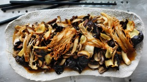 Kylie Kwong's stir fry of five mushrooms with soy and ginger.