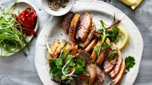 Duck breasts will maintain a pink hue even when cooked through. It is not an indication of being underdone.