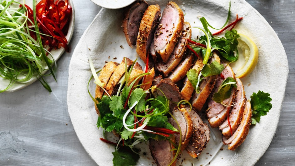Kylie Kwong's spicy salt duck breasts with lemon.