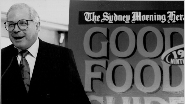 Leo Schofield, one of the founding editors of The Sydney Morning Herald Good Food Guide, launching the 1993 edition.