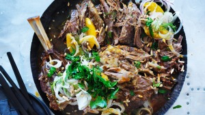 Neil Perry's Middle-Eastern-inspired slow-roasted lamb shoulder with almonds.