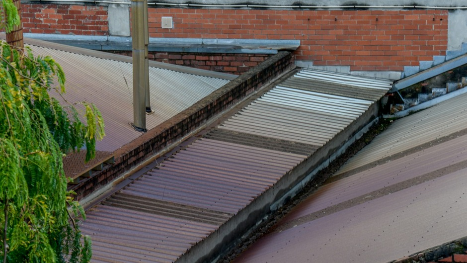 Discolouration on the roof of Small Batch's factory.
