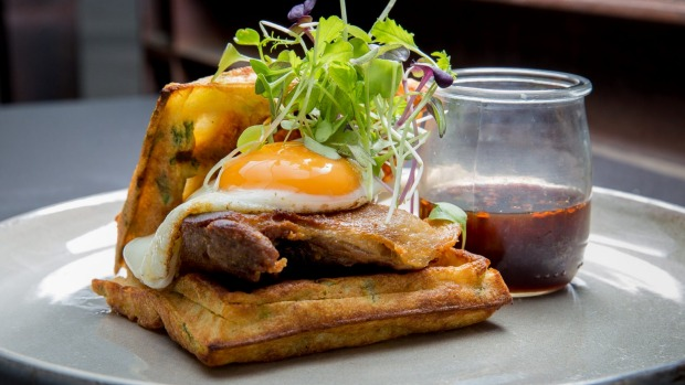 Not just sweet: Savoury waffles with confit duck and fried egg at Code Black in Melbourne.