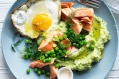 Love you mum! Jill Dupleix's brunch pick of ocean trout with green mash, peas and a fried egg.