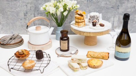 The ultimate high tea spread, complete with sparkling wine and Australia-grown loose leaf tea.