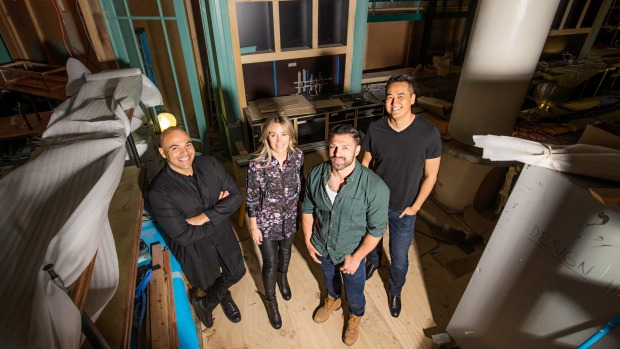 The Grounds of Alexandria is ready to launch in Sydney's CBD. From left: Vince Alafaci (Acme & Co), Caroline Choker ...