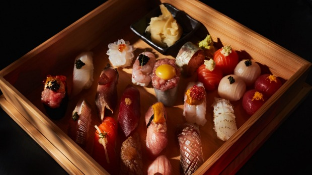 Deluxe sushi boxes are part of the lunch menu