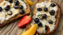 Easy and delicious: Blueberry and goat cheese toast with lemon thyme butter.