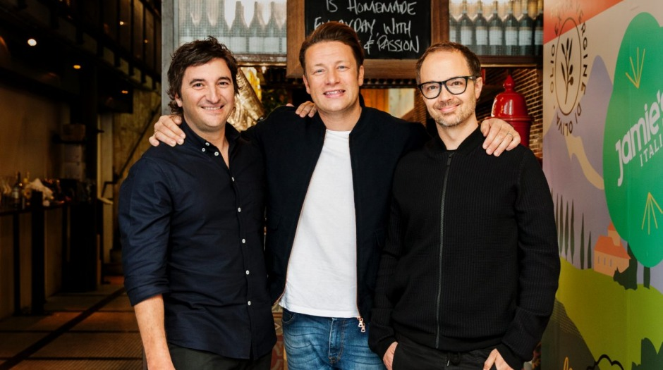 Team work: Matt Skinner, Jamie Oliver and Tobie Puttock at Jamie's Italian.