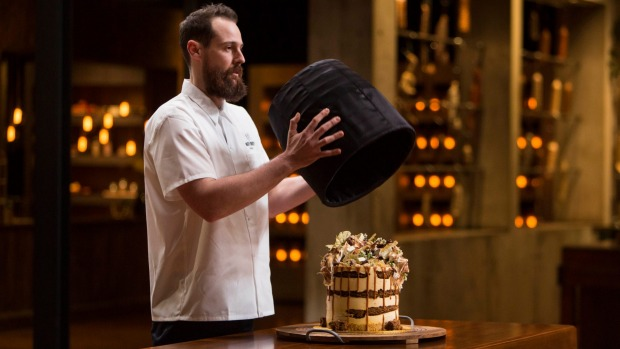 Andrew Bowden unveils his Rita cake on <i>MasterChef Australia</i>.