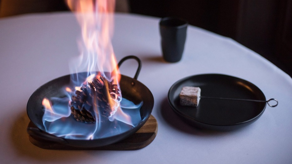 Toast your own chocolate marshmallow at the table.