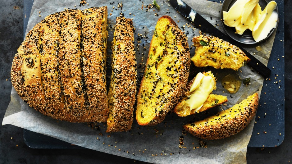Dan Lepard's pumpkin olive and sesame loaf is lovely with soup or with dips.