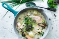 Adam Liaw's 'superfood' chowder with salmon, potato and wombok.