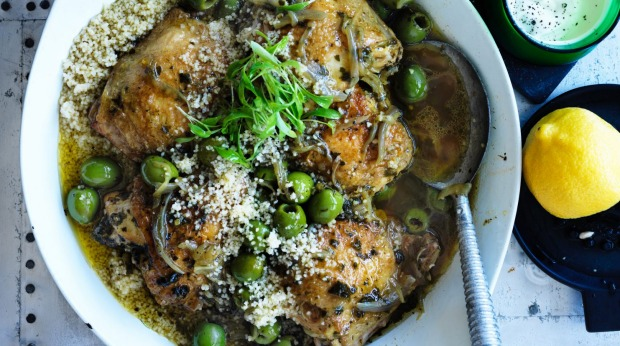 Neil Perry's Middle Eastern braised chicken with olives.