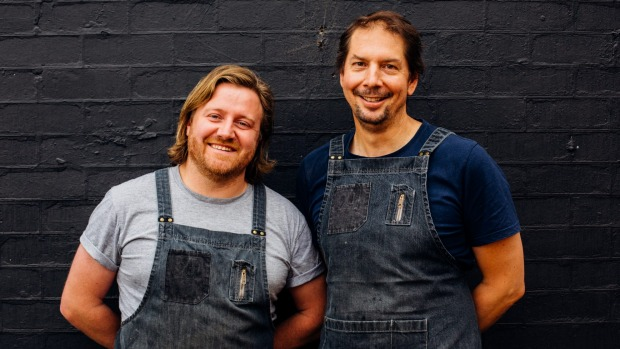 Matt Wilkinson (left) and founding chef Steven Rogers at the Pie Shop in 2017.